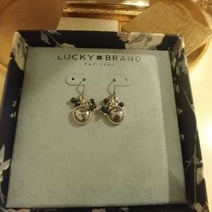 Lucky Brand Blue Beads and Silver Earrings